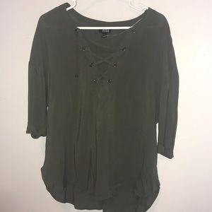 ANA Green Lace Up Blouse - XS